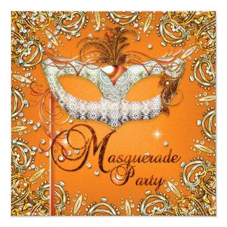 Mask Masquerade Orange Birthday Party Gold Card