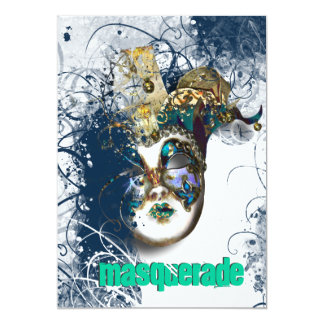 Mask masquerade venetian mardi gras party 13 cm x 18 cm invitation card