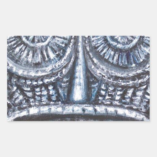 Mask of Ancient God (Surrealism, Outsider Art ) Rectangular Stickers