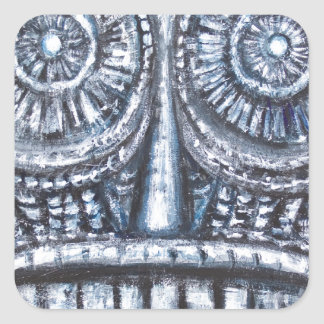 Mask of Ancient God (Surrealism, Outsider Art ) Square Stickers
