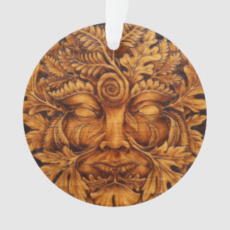 Mask of the Greenman Ornament with Ribbon