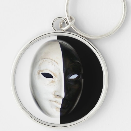 Mask Silver-Colored Round Key Ring