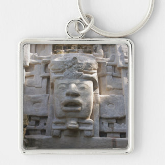 Mask Temple Silver-Colored Square Key Ring