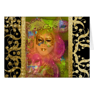 Mask venetian masquerade costume party greeting card