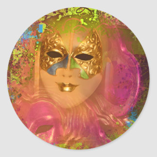 Mask venetian masquerade costume party round sticker