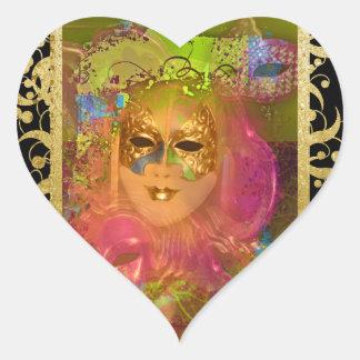 Mask venetian masquerade costume party heart sticker