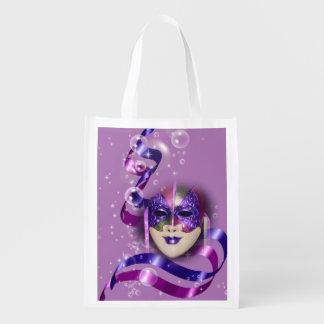 Mask venetian purple ribbons bubbles