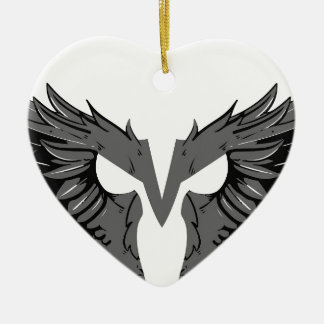 Mask with wings ceramic heart ornament