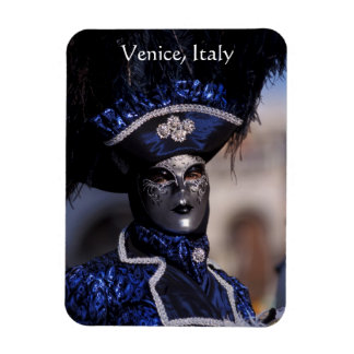 Masked Carnival Character With Blue Feathers Hat Magnet