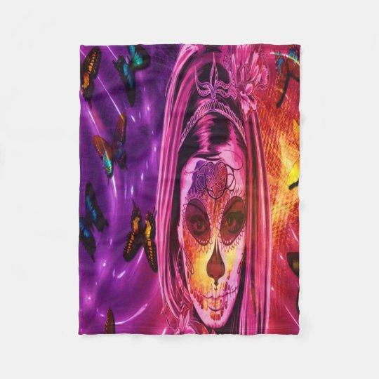 Masked girl in cosmic butterflies fleece blanket