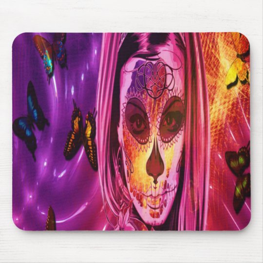 Masked girl in cosmic butterflies mouse pad