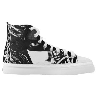 Masked girl lace tennis shoes printed shoes
