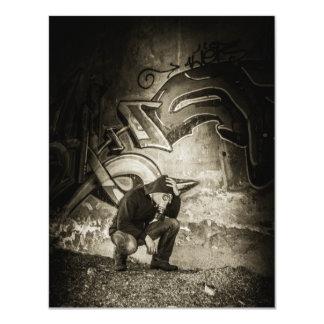 Masked Graffiti Artist Vignette 11 Cm X 14 Cm Invitation Card