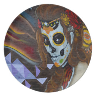 Masked lady graffiti plate