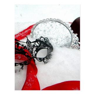 Masked Queens Snow Postcard