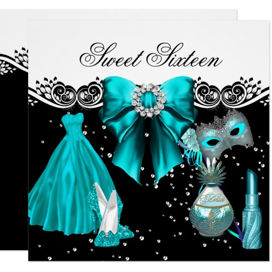 Masked Teal Blue Sweet Sixteen Sweet 16 Party Card
