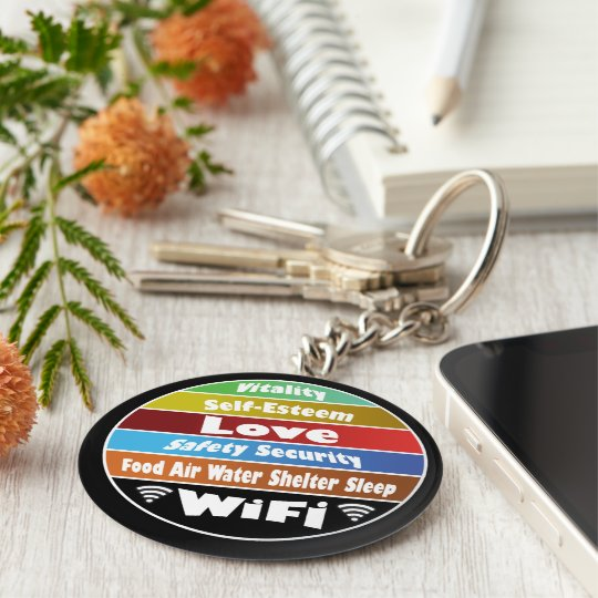Maslow's hierarchy of needs basic round button key ring