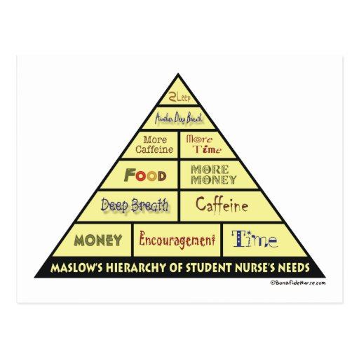 Maslow's Hierarcy of Student Nurse Needs Post Card
