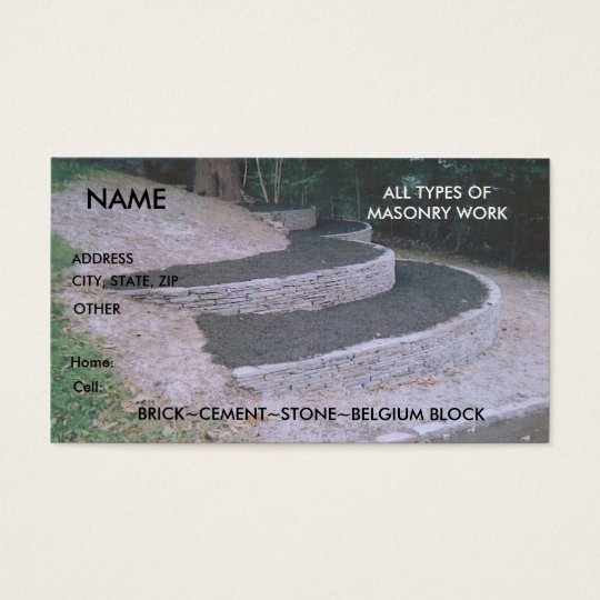 Mason Bricklayer Stone Brick work Business Card