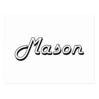 Mason Classic Retro Name Design Postcard