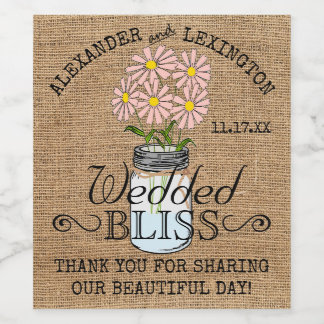 Mason Jar and Burlap Rustic Country Pink Wedding Wine Label