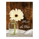 Mason Jar and Daisy Country Wedding Save the Date Postcard