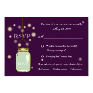Mason Jar and Fireflies Heart RSVP Meal Options 9 Cm X 13 Cm Invitation Card