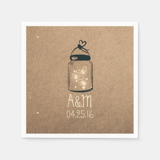 Mason Jar and Fireflies Rustic Disposable Serviettes
