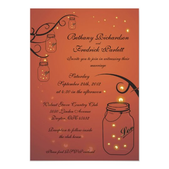 Mason Jar and Firefly Wedding Invitation - Orange