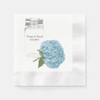 Mason Jar and Hydrangea Custom Wedding Napkins Disposable Serviettes
