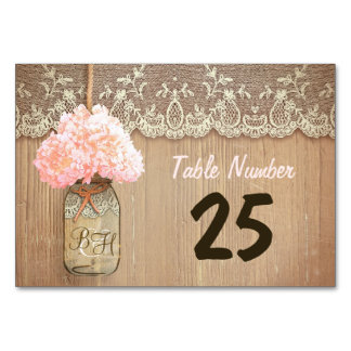 mason jar and hydrangea rustic table number cards table cards