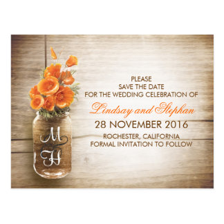 mason jar and orange flowers save the date post cards