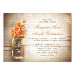 Mason jar and orange flowers wedding invitations