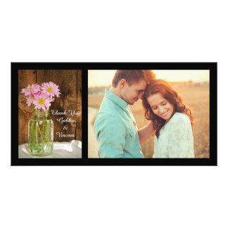 Mason Jar and Pink Daisies Barn Wedding Thank You Card