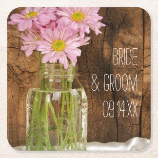 Mason Jar and Pink Daisies Country Barn Wedding Square Paper Coaster