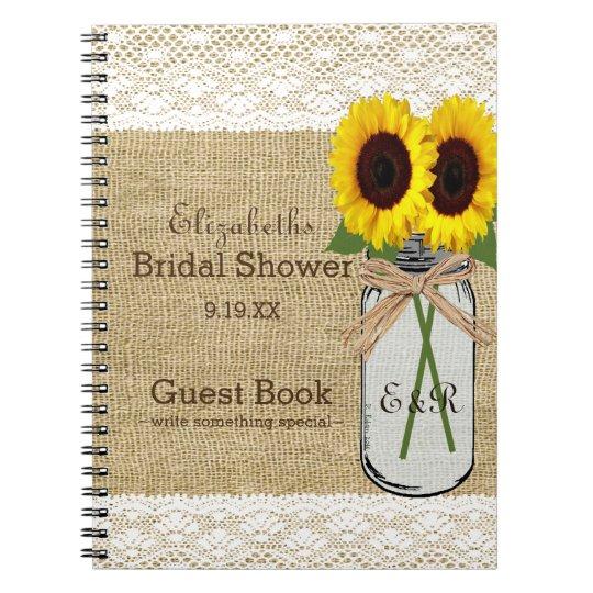 Mason Jar and Sunflower Bridal Shower Guest Book