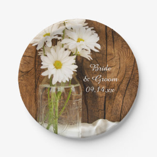 Mason Jar and White Daisies Barn Wedding 7 Inch Paper Plate