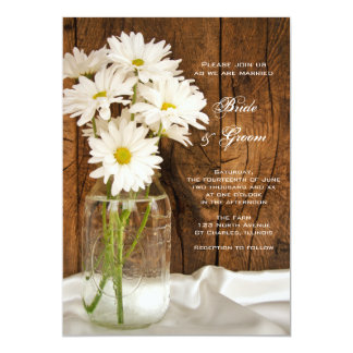 Mason Jar and White Daisies Country Barn Wedding 13 Cm X 18 Cm Invitation Card