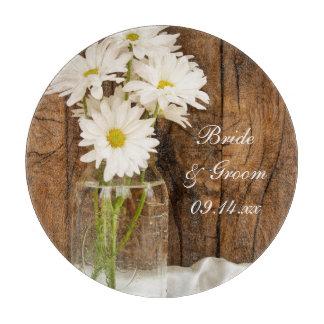 Mason Jar and White Daisies Country Barn Wedding Cutting Board