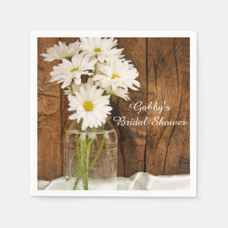 Mason Jar and White Daisies Country Bridal Shower Disposable Serviettes