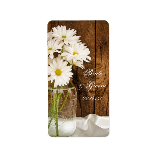 Mason Jar and White Daisies Country Wedding Address Label