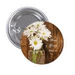 Mason Jar and White Daisies Country Wedding Button