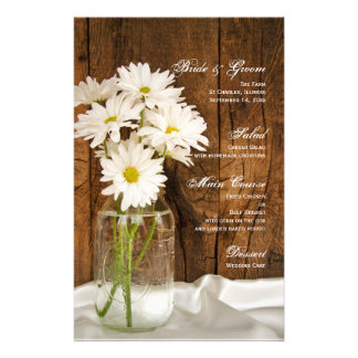Mason Jar and White Daisies Country Wedding Menu Personalised Stationery