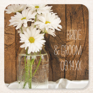 Mason Jar and White Daisies Country Wedding Square Paper Coaster