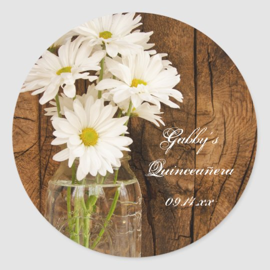 Mason Jar and White Daisies Quinceañera Favour Tag