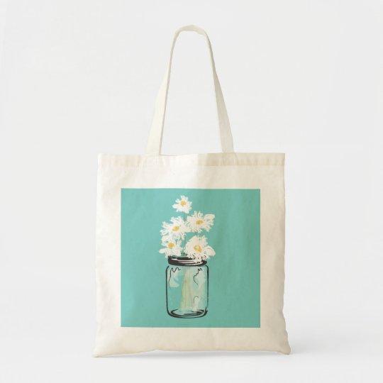 Mason Jar and White Daisies Tote Bag