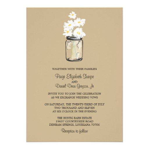 Mason Jar  and White Daisies Wedding