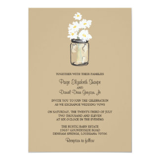 Mason Jar  and White Daisies Wedding 13 Cm X 18 Cm Invitation Card