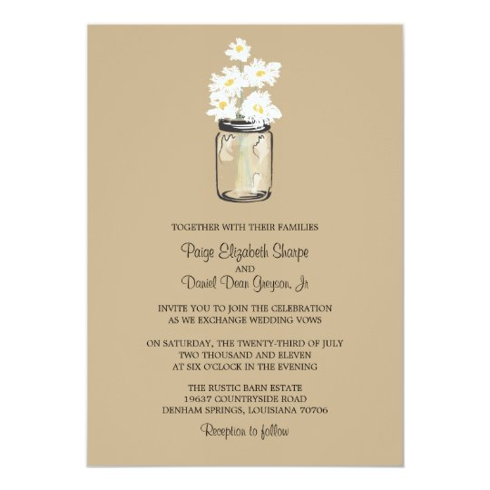 Mason Jar  and White Daisies Wedding 13 Cm X 18 Cm Invitation Card