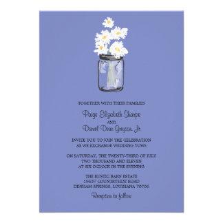Mason Jar  and White Daisies Wedding Invitation